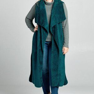 Plush Open-Front Long Vest with Waterfall Collar